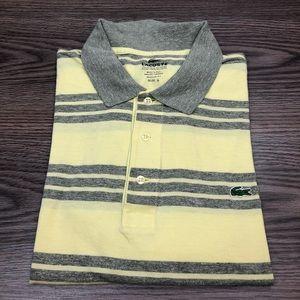 Lacoste Yellow & Grey Stripe Polo Shirt 6 or L